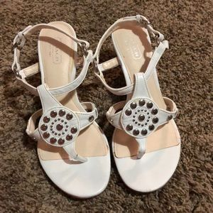 White leather coach sandals